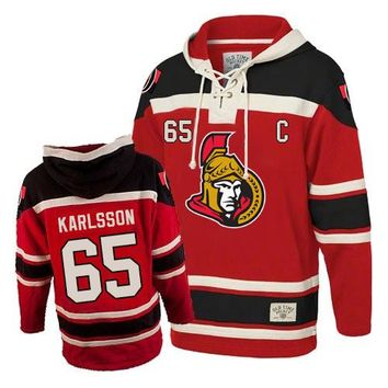 Men's Old Time Hockey Ottawa Senators #65 Erik Karlsson Premier Red Sawyer Hooded Sweatshirt NHL Jersey