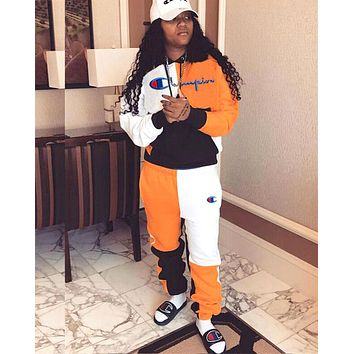Champion women's letter embroidery stitching pocket hooded fashion casual suit two-piece orange