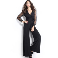 Black Embellished Cuffs Long Mesh Sleeves Jumpsuit Plus Size S M L XL XXL Solid Full Length Red Blue Casual Formal Women Clothes