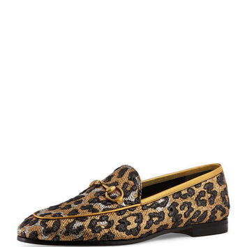 Gucci New Jordaan Leopard-Print Loafer
