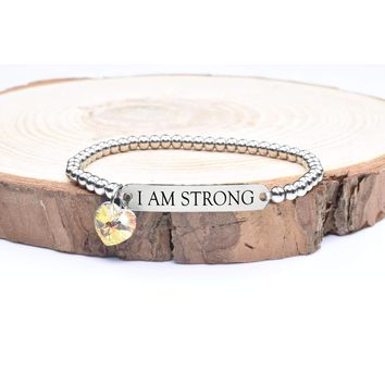 Beaded Inspirational Bracelet With Crystals From Swarovski By Pink Box - I Am Strong