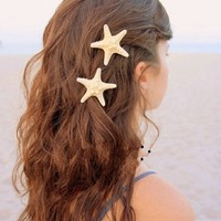 NIPOO Fashion Women Lady Girls Pretty Natural Starfish Star Moon Hair Clip New (Star)