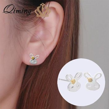QIMING Lovely Bunny Rabbit Stud Earrings For Girls Baby Kids Jewelry Accessories Cute Animal Birthday Gift Earring Women's