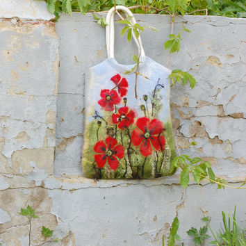 Felted Wool Tote With Red Popppies, OOAK floral, Unique Felt  Wet Felted, Ready to Ship