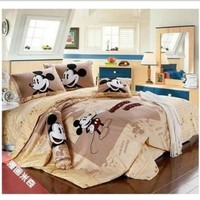 Cartoon Mickey and Minnie Mouse Bedding Sets Include Comforter Duvet Cover Bedsheet and Pillowcase (queen)
