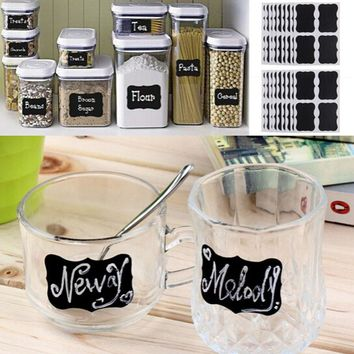 36Pcs/Set Blackboard Sticker Craft Kitchen Jar Organizer Labels Chalkboard Chalk Board Stickers Black