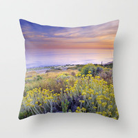 Yellow flowers at the sea Throw Pillow by Guido Montañés