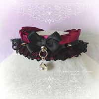 Kitten Pet Play Collar DDLG Choker Necklace Burgandy Red Black Lace Ruffles Bow O Ring ZBell Spikes kitty Jewelry pastel Nu goth Lolita DDLG