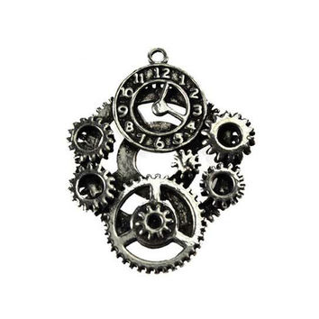 Pewter Steampunk Clock Charm