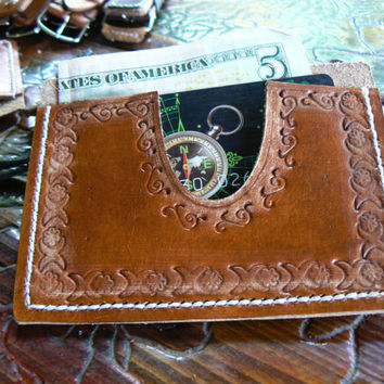 Slim wallet , Brown leather wallet, women tooled wallet, minimalist card holder, women's tooled slim wallets