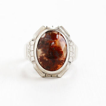 Vintage Art Deco Sterling Silver Dark Red Moss Agate Ring - 1930s Size 9 Oval Chalcedony Cabochon Gem Statement Jewelry Hallmarked Uncas