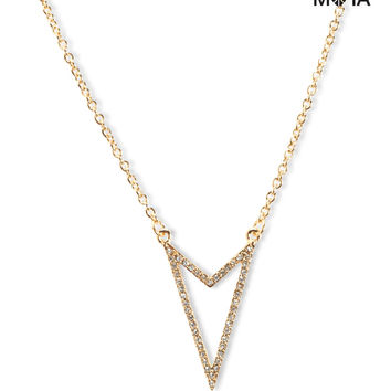 Aeropostale  Pave Arrowhead Short-Strand Necklace - Gold