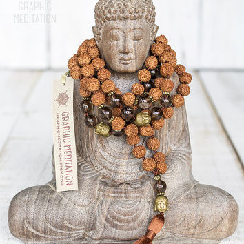 Rudraksha mala beads with smoky quartz, 108 Mala beads, Crystal healing mala necklace, Smokey quartz necklace, Meditation beads