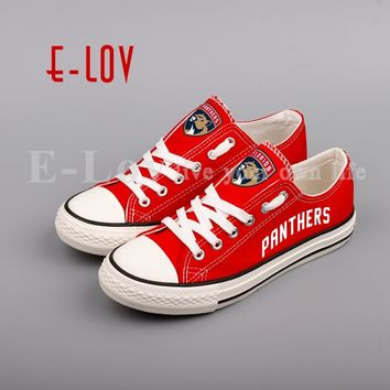 E-LOV Ice Hockey Fans Print Canvas Shoes NHL Customization Casual Shoes Low Top Lace Flat Shoes Woman Girls Gift