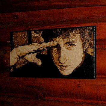 Bob Dylan woodburned home decoration by BaconFactory on Etsy