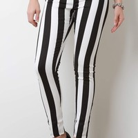 Vertical Striped Mid Rise Fitted Pants