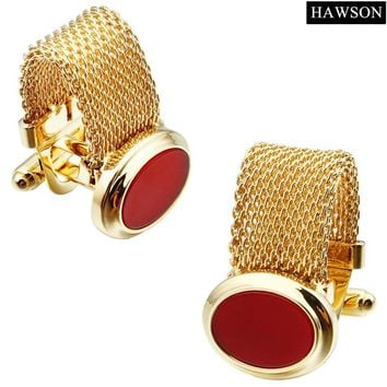 HAWSON Luxury Red Onyx Cufflinks with Chain Gold Color White Shell  French Cuff links for Party