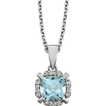 14kt White Gold Sky Blue Topaz & .05 CTW Diamond Halo Necklace