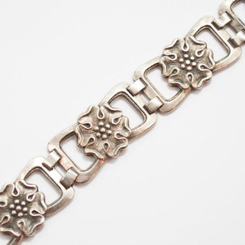 Vintage 1940's Sterling Silver Arts and Crafts Plaque Bracelet