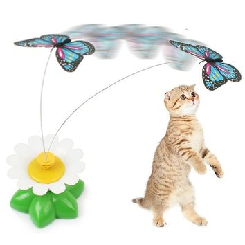 Funny Electric Rotating Bird Butterfly Toys for Cat Kitten Play Rod Wire Cat Teaser Scratch Toy Pet Supplies