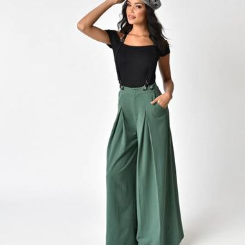 Voodoo Vixen 1940s Style Green Laura Suspender Trousers