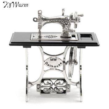 Kiwarm Cute Lovely Vintage Miniature Dollhouse Sewing Machine Furniture Table Metal Crafts Home Decoration Ornaments New