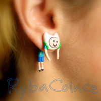Fake ear gauge - Faux gauge/Gauge earrings/ plug/ fake piercin    Adventure Time/ Finn