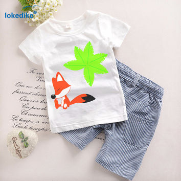 Baby Boys Clothes Set Short Sleeve Suit Children 2017 Summer Kids Clothing Cotton Boys Clothes Cartoon Sets T-shirt+Pants T5