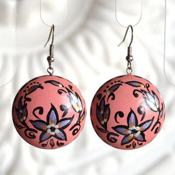 Earrings of wood with hand painted pink jewelry Handmade wooden Dangling earrings Gift idea for her Folklore round earrings Casual earrings