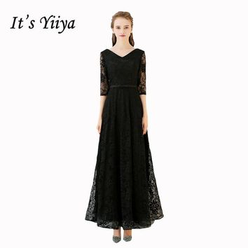 It's YiiYa Black Popular Three Quarter Sleeve V-Neck Evening Gown Floor Length Lace Up Simple Pattern Bow Evening Dresses L030