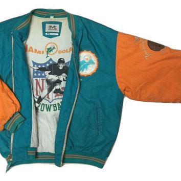 RARE Authentic Mirage NFL Throwback Vintage Miami Dolphins Jacket Starter coat Clothing Men Women Jersey
