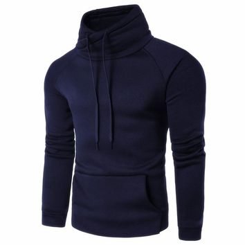 2018 Hoodies Men Sudadera Hombre Hip Hop Mens Brand Solid Color Turtleneck Pullover Hoodie Sweatshirt Slim Fit Men Hoody Outwear