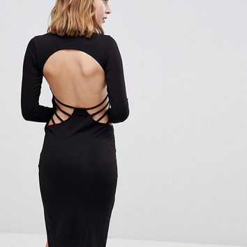 ASOS PETITE Strappy Open Back Midi Bodycon Dress at asos.com