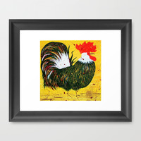 """doodle doo"" rooster Framed Art Print by Jennifer Pennacchio"