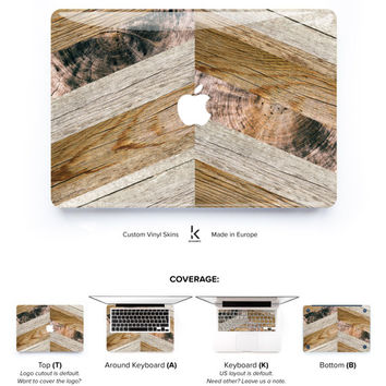 Macbook Wood Chevron Skin Vinyl decal Macbook Pro Skin Macbook Air Skin Macbook Cover Macbook Decal Macbook Sticker Laptop Skin Wooden