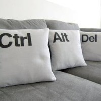 Ctrl  Alt  Del  Three Pillow Set Geeks Need by diffractionfiber