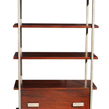Hoyt Two Drawer Metal and Wood Bookcase