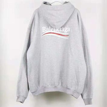Balenciaga Classic Fashionable Women Men Casual Print Hooded Velvet Sweater Top Sweatshirt Grey