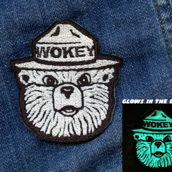 Wokey the bear national park iron on resist patch