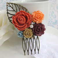 Flower Collage Hair Comb. Autumn Fall Shabby Chic Country Cottage Nature. Brown, Orange, Grey, Mocha Roses. Bridal Wedding Hair Accessory