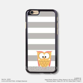 Orange owl Gray Strip Free Shipping iPhone 6 6Plus case iPhone 5s case iPhone 5C case 283