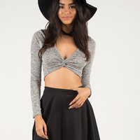 Knotted Front Crop Top - Large