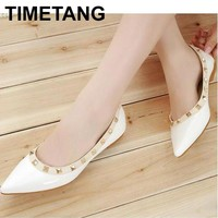 TIMETANG Women Flats Shoes Rivet Pointed Toe Patent Leather Gladiator Sexy Stud Women Ballet Flat Shoes Great Loafer Shoes C230