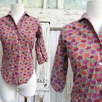 Lady Manhattan Blouse • 1950s Printed Top •  Mid Century Blouse