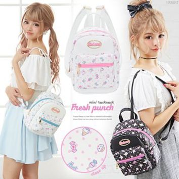 The suite daily outing black pink blue black and white F Lady's dream prospects 0530 ◆ 6/15 shipment plan that entering rucksack fresh punch mini-English letter petit ribbon fastener synthetic leather has a cute