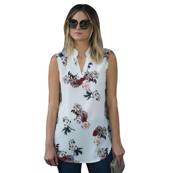 Print Sleeveless Top Women Summer V-Neck Women Tops And Blouses 2018 Plus Size Casual Shirt Blouse Tops Blusas Feminina