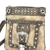 Taupe Western Rhinestone Buckle Crocodile Hipster Cross Body Purse: Clothing