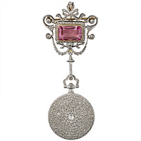 Cartier Lady's Diamond Pendant Watch and Tourmaline Brooch