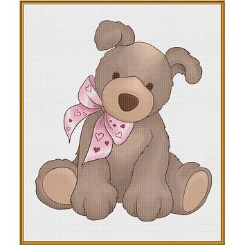 Contemporary Valentine Teddy Bear with Heart Bow Sew So Simple ™ Counted Cross Stitch or Counted Needlepoint Pattern