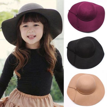 Hot Fashion Retro Kids And Mum Wear Wide Brim Sun Beach Cap Hat